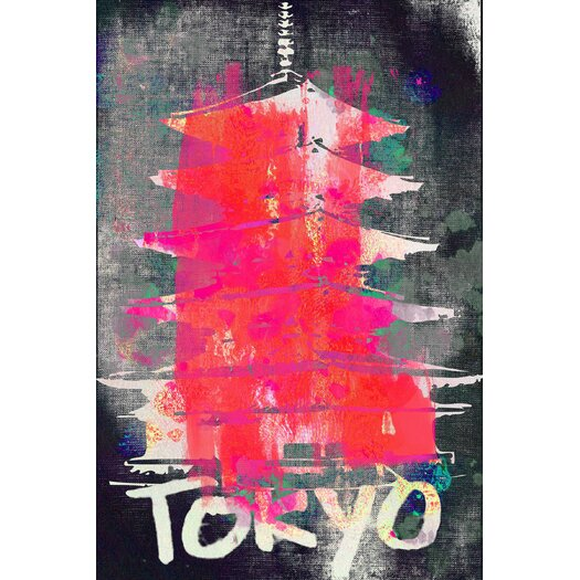 """Marmont Hill """"Tokyo"""" by Jen Lee Painting Print on Wrapped Canvas"""