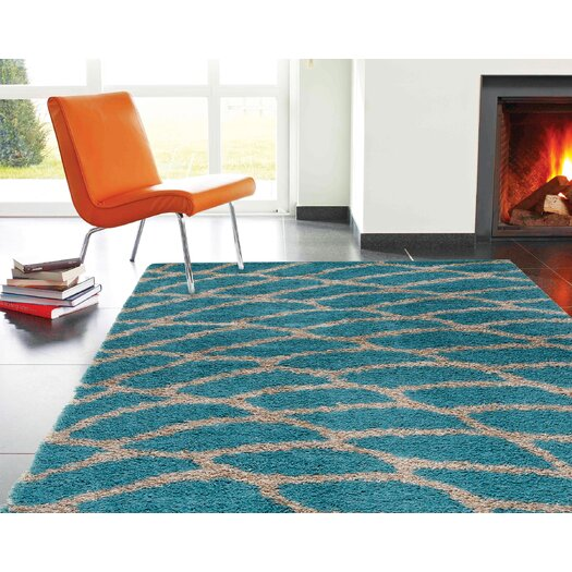 Kalora Shaggy Peacock Blue Area Rug