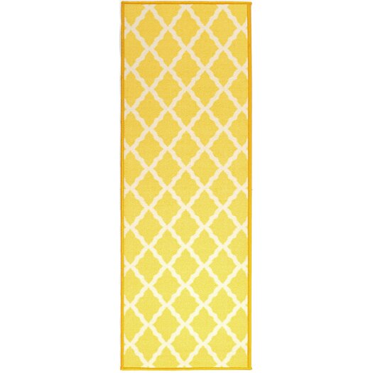 Ottomanson Pink Contemporary Yellow Moroccan Trellis Area