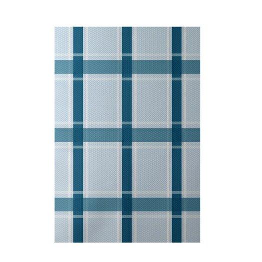 E By Design Plaid Light Blue Indoor/Outdoor Area Rug