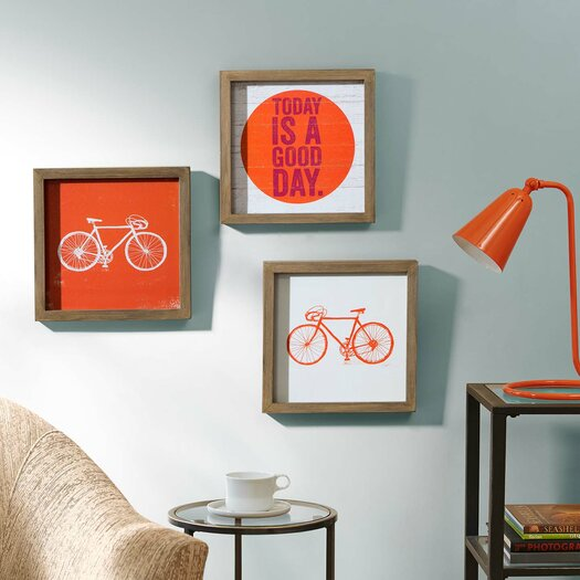 """Intelligent Design """"Today Is A Good Day"""" by Evangeline Taylor 3 Piece Framed Painting Print Set"""