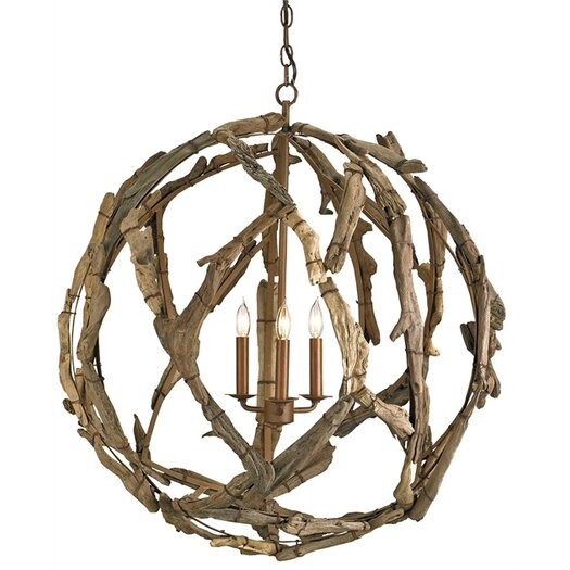 Currey & Company Driftwood 3 Light Candle Chandelier