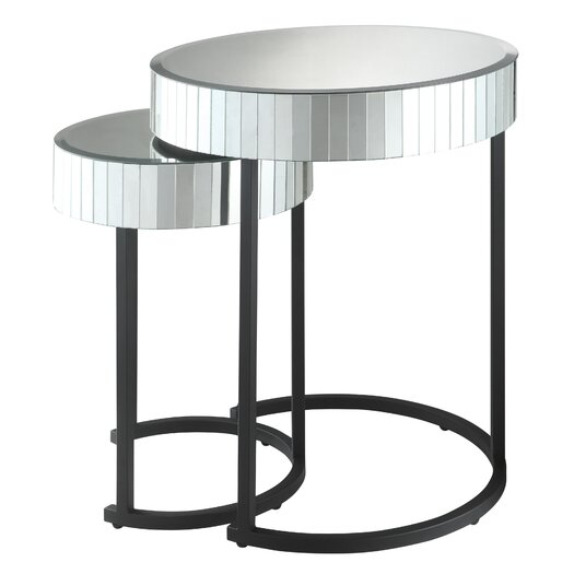OSP Designs Krystal 2 Piece Nesting Table Set