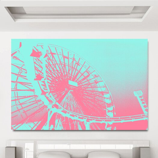 Fluorescent Ferris Wheel Green Pastel Graphic Art on Canvas