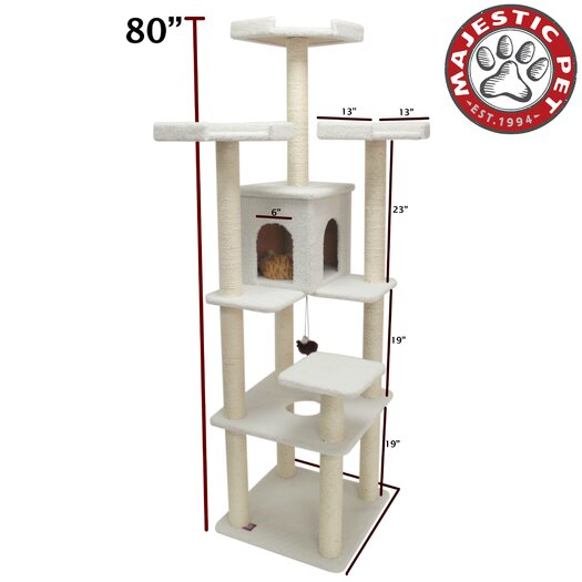 """Majestic Pet Products 80"""" Bungalow Sherpa Cat Tree"""