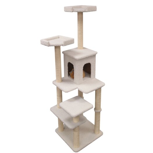 "Majestic Pet Products 66"" Bungalow Sherpa Cat Tree"