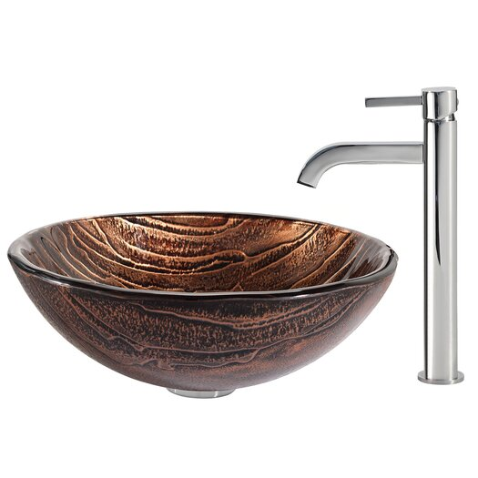 Kraus Gaia Glass Vessel Sink with Ramus Faucet