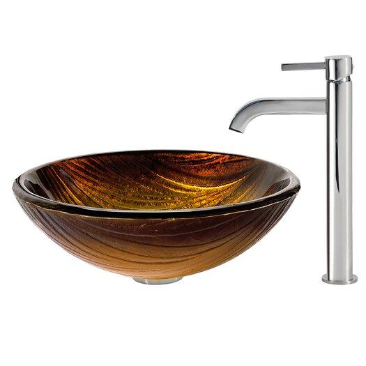 Kraus Midas Glass Vessel Sink with Ramus Faucet