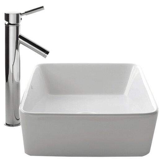 Kraus Ceramic Rectangular Bathroom Sink with Sheven Single Lever Faucet
