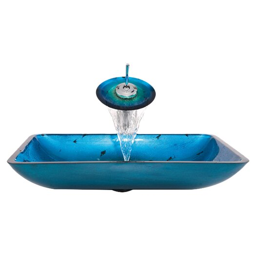 Kraus Glass Combination Galaxy Vessel Bathroom Sink & Faucet with Drain