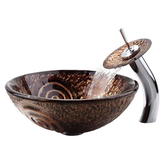 Kraus Luna Vessel Bathroom Sink & Waterfall Faucet