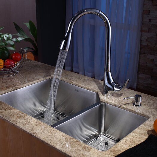 """Kraus 32"""" x 20"""" Undermount 70/30 Kitchen Sink with 18.5"""" Faucet and Soap Dispenser"""