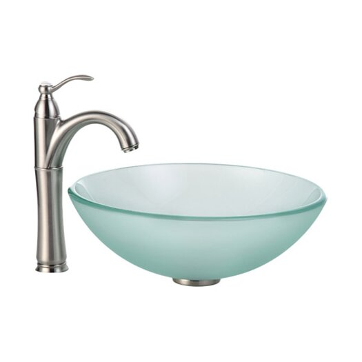 Kraus Frosted Glass Vessel Sink and Riviera Faucet
