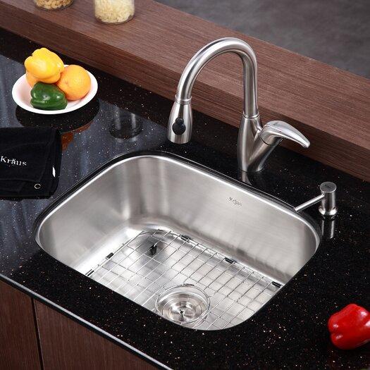 "Kraus 23"" x 17.6"" 4 Piece Single Bowl Kitchen Sink Set"