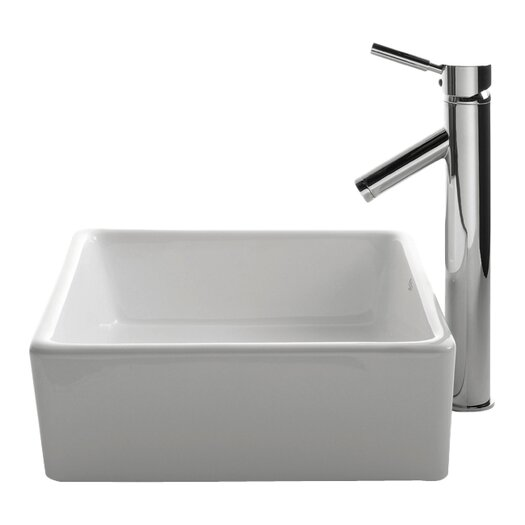 Kraus Ceramic Square Vessel Bathroom Sink & Sheven Faucet