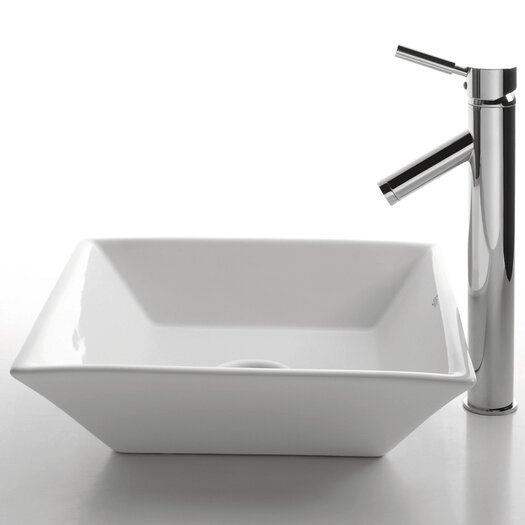 Kraus Ceramic Square Bathroom Sink with Sheven Single Lever Faucet