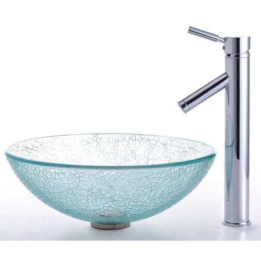 Kraus Broken Glass Vessel Sink and Sheven Faucet