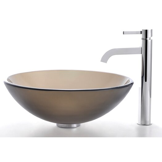 Kraus Frosted Brown Glass Vessel Sink and Ramus Faucet