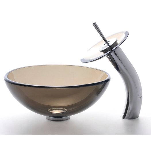 Kraus Clear Brown Glass Vessel Sink and Waterfall Faucet