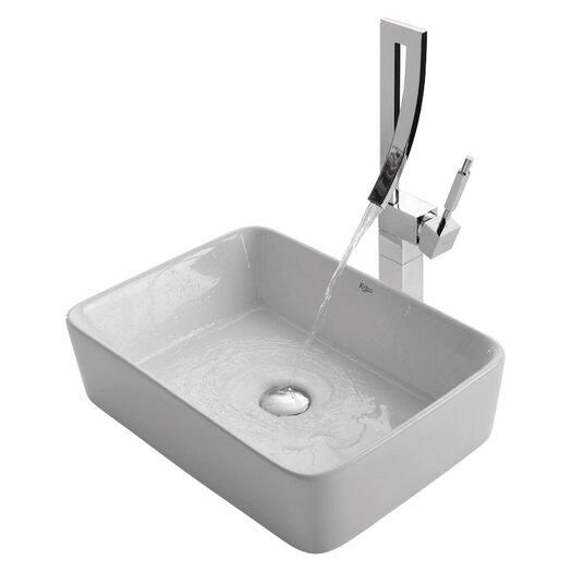 Kraus Ceramic Rectangular Vessel Bathroom Sink