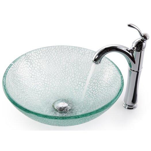 Kraus Broken Glass Vessel Bathroom Sink with Faucet