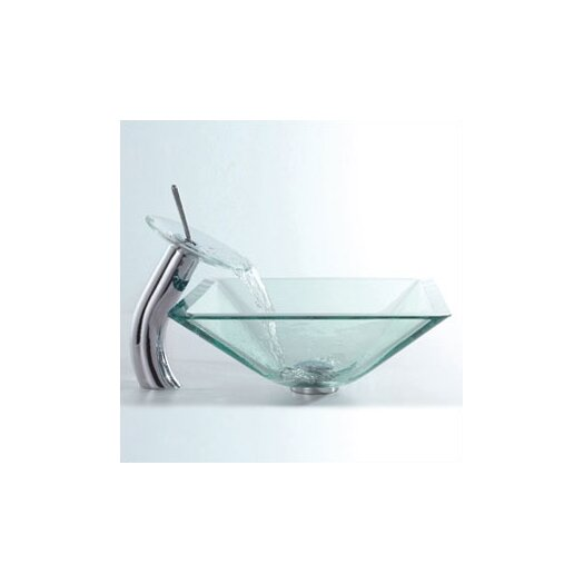 Kraus Glass Combinations Aquamarine Square Vessel Bathroom Sink and Waterfall Faucet
