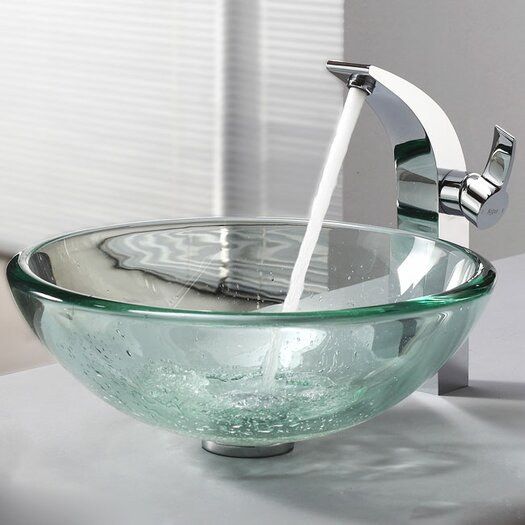Kraus Clear Glass Vessel Bathroom Sink & Single Hole Faucet with Single Handle