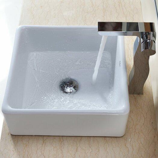 Kraus Bathroom Combos Square Ceramic Bathroom Sink with Single Handle Single Hole Faucet