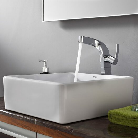 Kraus Bathroom Combos Single Hole Waterfall Typhon Faucet and Bathroom Sink