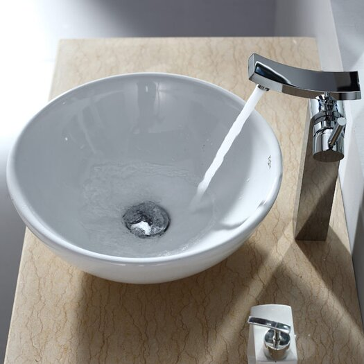 Kraus Bathroom Combos Round Ceramic Bathroom Sink with Single Handle Single Hole Faucet