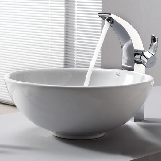 Kraus Bathroom Combos Single Hole Waterfall Illusio Faucet and Bathroom Sink