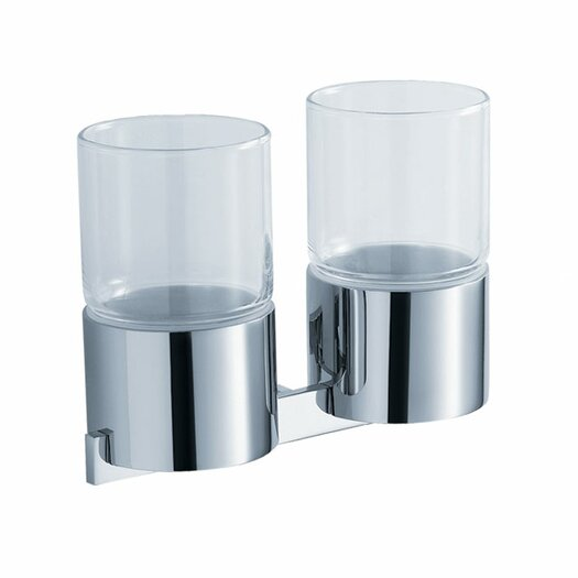 Kraus Aura Wall Mounted Double Glass Tumbler Holder