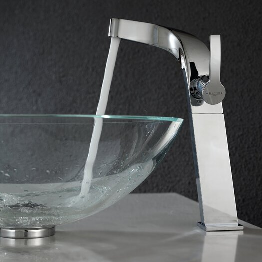 Kraus Crystal Clear Glass Vessel Sink and Typhon Faucet