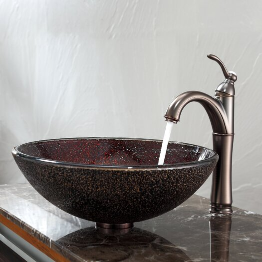 Kraus Callisto Glass Vessel Sink and Riviera Faucet