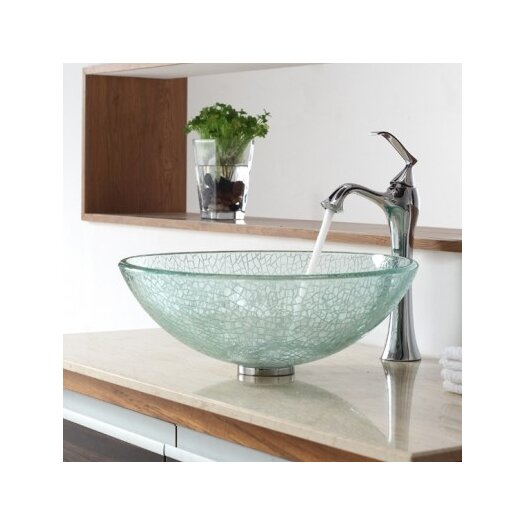 Kraus Broken Glass Vessel Bathroom Sink with Single Handle Single Hole Faucet