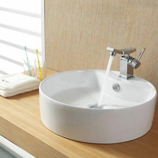 Kraus Bathroom Combos Bathroom Sink with Single Handle Single Hole Unicus Faucet