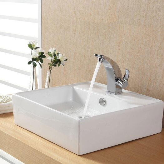 Kraus Bathroom Combos Bathroom Sink with Single Handle Single Hole Illusio Faucet