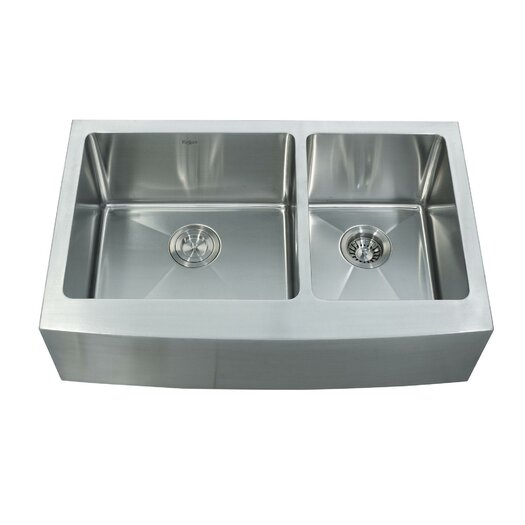 "Kraus 32.88"" x 20.75"" Farmhouse Double Bowl Kitchen Sink with Faucet and Soap Dispenser"