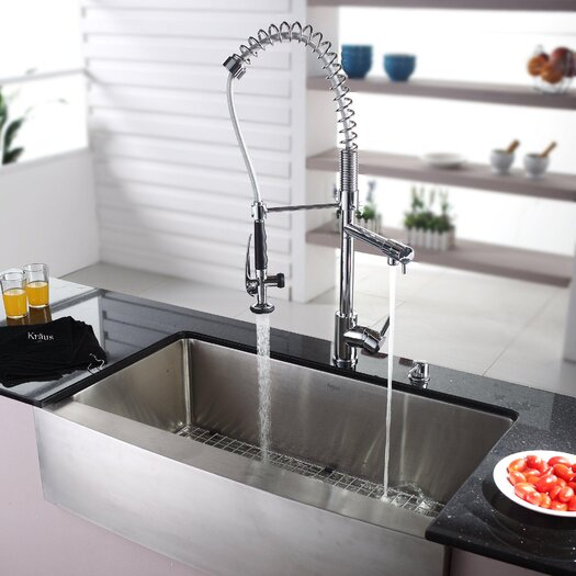 "Kraus Farmhouse 35.88"" x 20.75"" Kitchen Sink with Faucet"