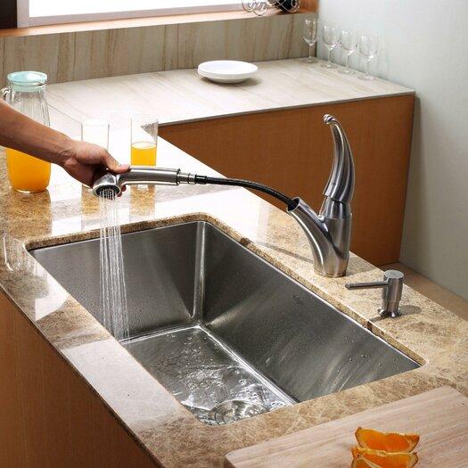 """Kraus 30"""" x 18"""" Undermount Kitchen Sink with Faucet"""