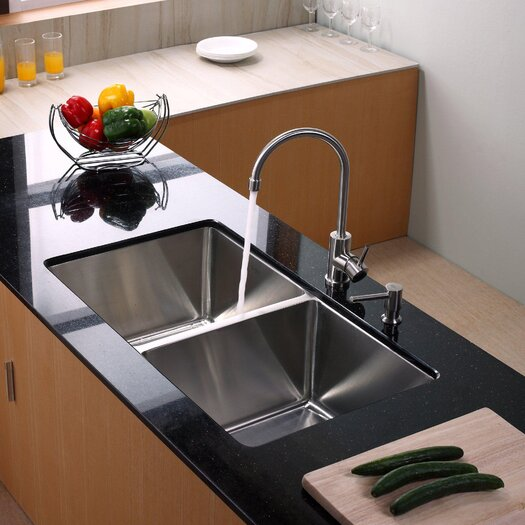 "Kraus 32.75"" x 19"" Undermount Double Bowl Kitchen Sink with Faucet and Soap Dispenser"