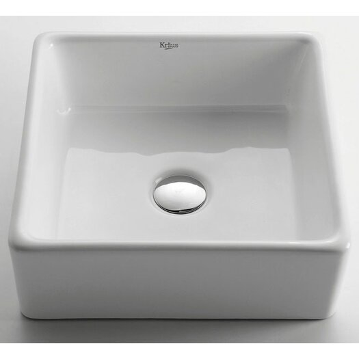 Kraus ceramic square vessel bathroom sink allmodern for White ceramic bathroom bin