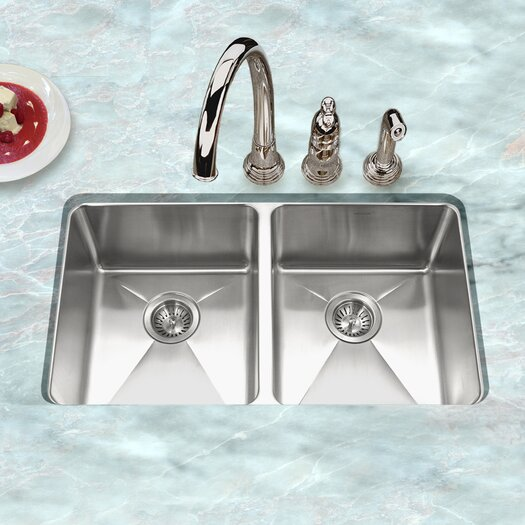 "Houzer Nouvelle 31.13"" x 18"" Undermount 50/50 Double Bowl Kitchen Sink"