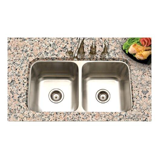 "Houzer Eston 31.25"" x 17.75"" Undermount 50/50 Double Bowl Kitchen Sink"