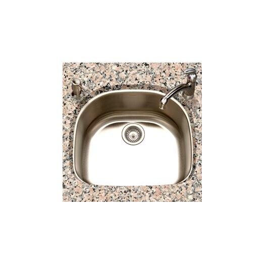 "Houzer Eston 23.44"" x 20.88"" Undermount D Shape Single Bowl Kitchen Sink"