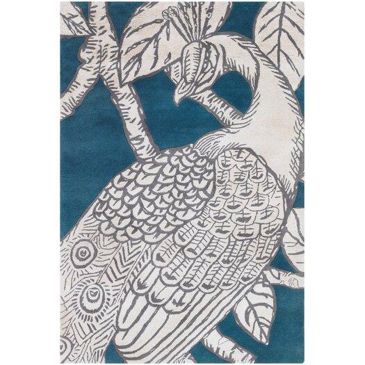 Chandra Thomaspaul Patterned Designer Teal Gray Area Rug