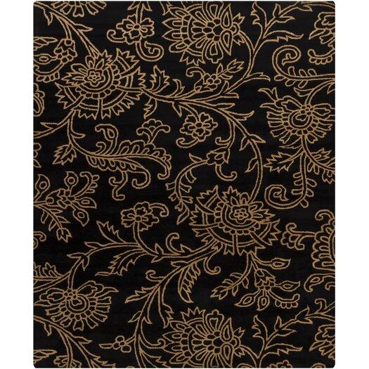 Chandra Rugs Hanu Swirls Floral Black/Gold Floral Area Rug