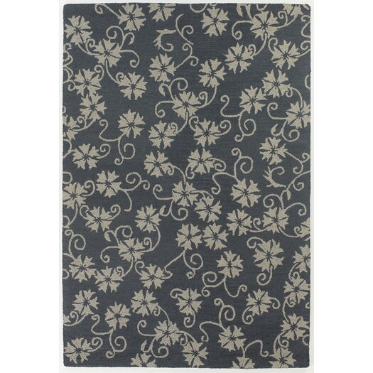 Chandra Rugs INT Blue/Ivory Floral Leaves Area Rug