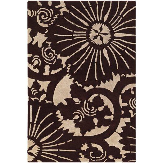 Chandra Rugs Counterfeit Contemporary Designer Dark Brown Area Rug