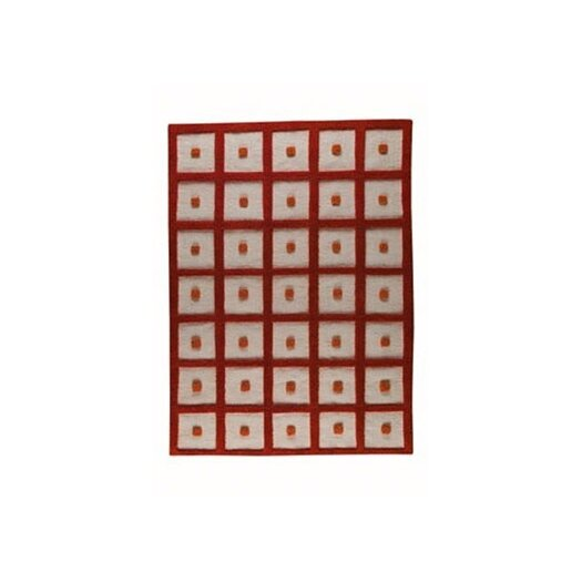 Hokku Designs Mat The Basics Orange Frame Area Rug